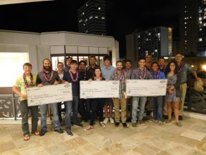 MIL students celebrating in Hawaii with large checks